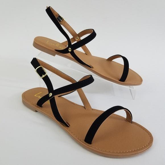 bb883b07fe75 LULUS Rika black Nubuck Flat Sandals
